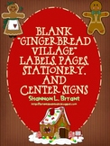 """Blank """"Gingerbread Village"""" Labels, Pages, Stationery, and Center Signs"""