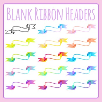Blank Gradient Ribbon Headers Clip Art for Commercial Use