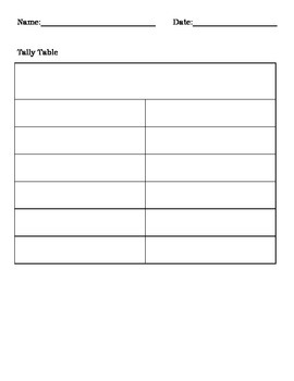 Blank Graph Templates - Tally Table, Picture Graph, and Frequency Table.