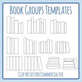 Blank Groups of Books Spines / Bookshelf Arrangements Clip Art Set Templates