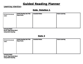 Blank Guided reading planner