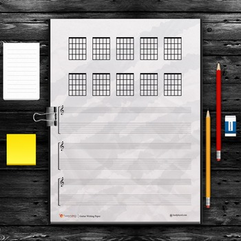 Guitar Writing Paper Chords Fretboard Diagrams Package By Hardplayed