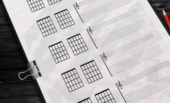 Guitar Writing Paper, Chords & Fretboard Diagrams Package