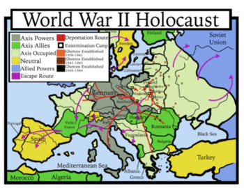 Blank Holocaust Maps: Students Color and Discuss