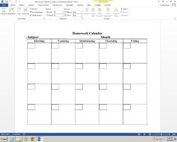 Blank Homework Calendar