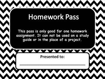 Blank Homework Pass