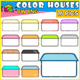 Blank Houses Colorful Edge Clipart Set