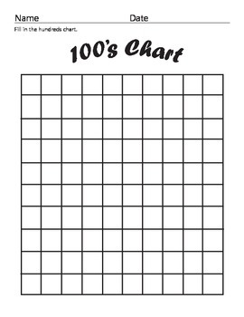 Hundreds Chart | Blank Hundreds Chart By Year One And Counting Teachers Pay Teachers