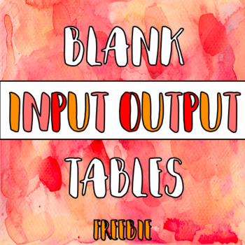 Blank Input Output Tables
