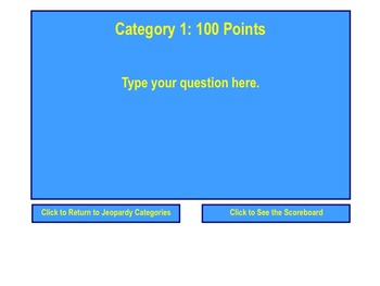 Blank Jeopardy Review Game Template for SMART Notebook
