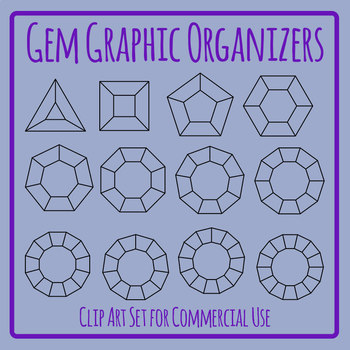 Blank Jewel / Gem Graphic Organizer Templates / Clip Art Set for Commercial Use