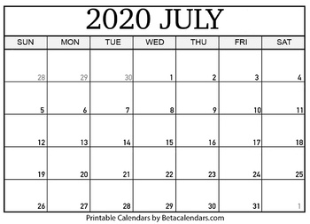 image about Printable Calendar 2020 titled Blank July 2020 Calendar Printable by means of Mateo Pedersen TpT