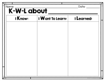 image regarding Printable Kwl Chart named Blank KWL Chart FREEBIE!