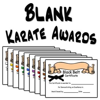 Blank Karate Award Certificates
