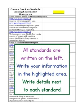 Blank Kindergarten Common Core Standards Alignments for Teachers and Sellers