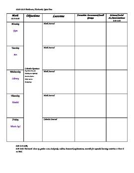Blank Kindergarten Lesson Plan Template- Editable!