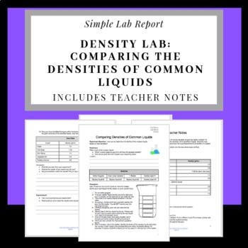 Density Lab:Comparing the Densities of Common Liquids.Lab Report & Teacher notes