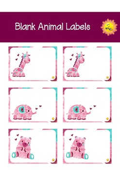 Blank Labels - Water Color Animals