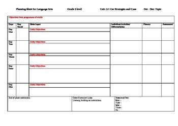 Language arts planning sheet