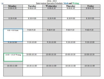{FREE} Blank and Editable Learning/Intervention Specialist Schedule