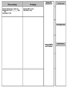 Blank Lesson Plan Pages