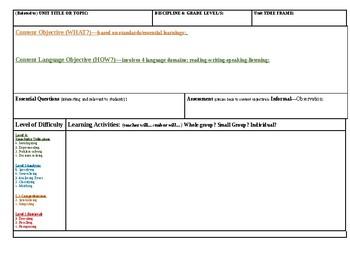 Blank Lesson Plan Template & Exemplar Lesson Plan