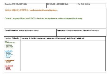 Blank Lesson Plan Template & Exemplar Lesson Plan
