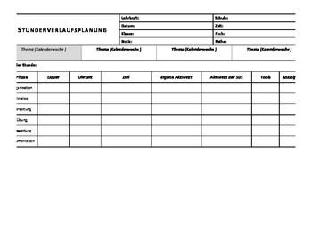 Blank Lesson Plan Template in German
