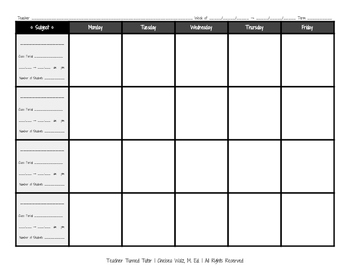 Blank Lesson Plan Template with Number of Students