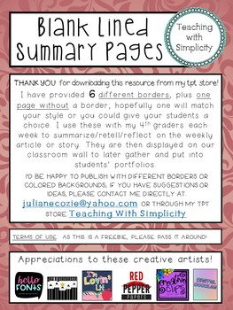 Blank Lined Summary Pages