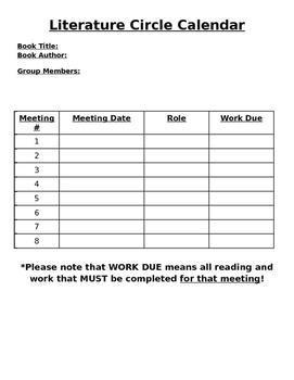 Blank Literature Circle Calendar