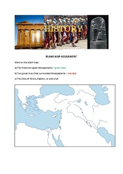 Blank Historical Map Assignments - Prehistory and Ancient History