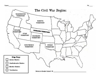 Blank Map of US during the Civil War by Holly Martin | TpT