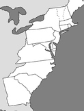 Blank Map of the 13 Colonies