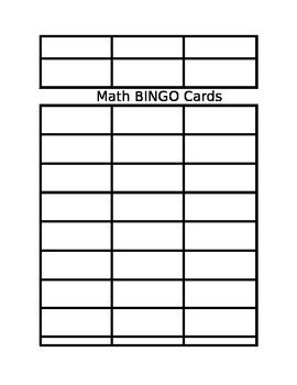 Blank Math Bingo Cards
