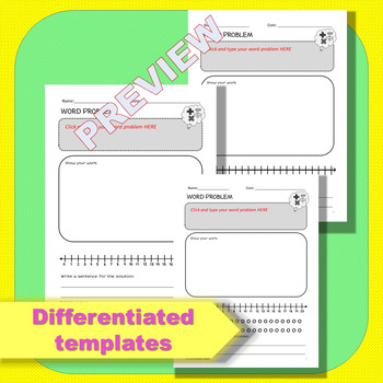 Blank Math Word Problem Templates Pack *Editable
