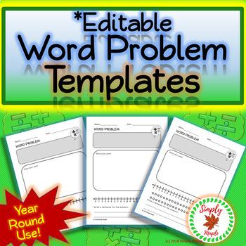 Blank Math Word Problem Templates Pack *Editable