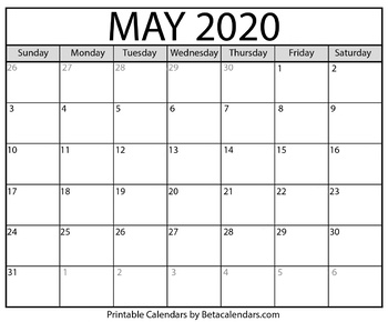 Blank May 2020 Calendar Printable by Mateo Pedersen | TpT