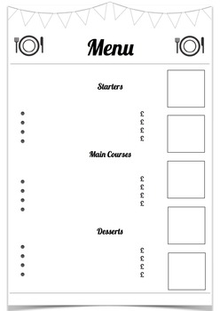 blank menu template by fun in the sun teachers pay teachers