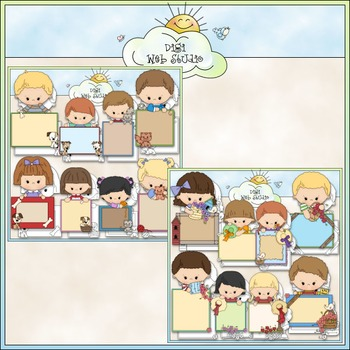 Blank Message Kids Clip Art Bundle - Back to School - 2 Cl