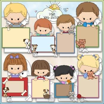 Blank Message Kids Clip Art Bundle - Back to School - 2 Clip Art & B&W Sets