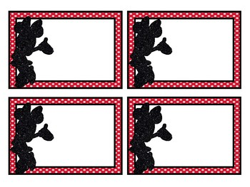 Blank Mickey and Minnie Inspired Classroom Labels