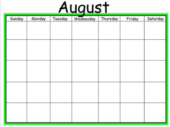 *Totally Editable* Blank Mimio Calendar