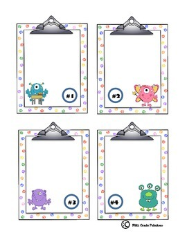 Blank Monster Task Card Set **For Personal Use**