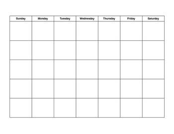 Blank Month Calendar
