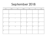 Blank Monthly Calendar 2018 2019 Sept-Aug
