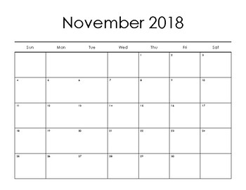 Blank Monthly Calendar 2018 2019 Sept-Aug