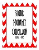 Blank Monthly Calendar - Red Chevron
