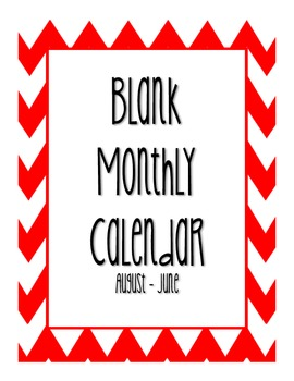 Blank Monthly Calendar - Red Chevron