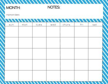 Blank Monthly Calendar Diagonal Stripe 12 Assorted